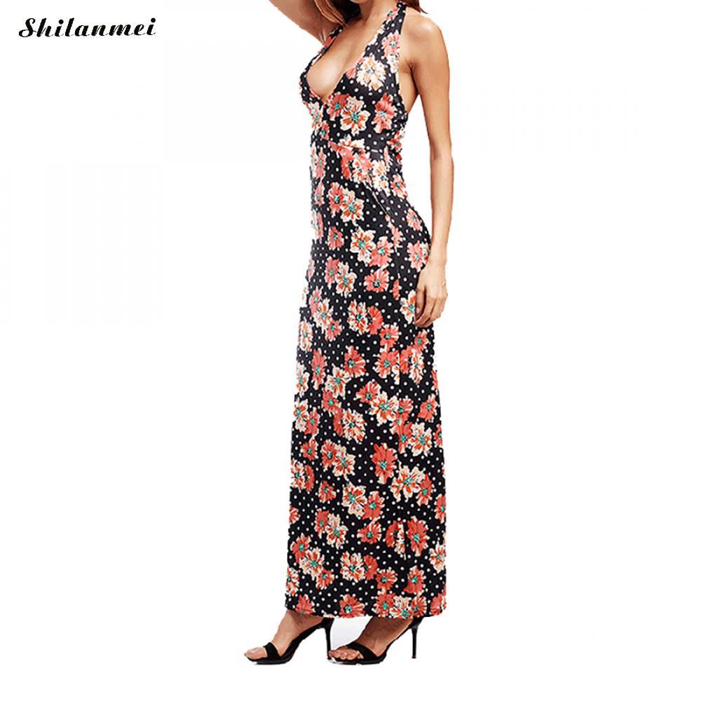 Deep V Halter Long Dress Women Summer 2018 Sexy Pinted Backless Beach Dress Maxi Cotton vestidos verano Sheath Ladies Dresses