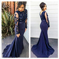 Dark Blue Long Sleeve Lace Mermaid Evening Dress Applique Beading 2016 Long African Evening Gown