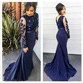 Laço azul escuro manga comprida da sereia vestido de noite Applique Beading 2016 longo africano vestido de noite
