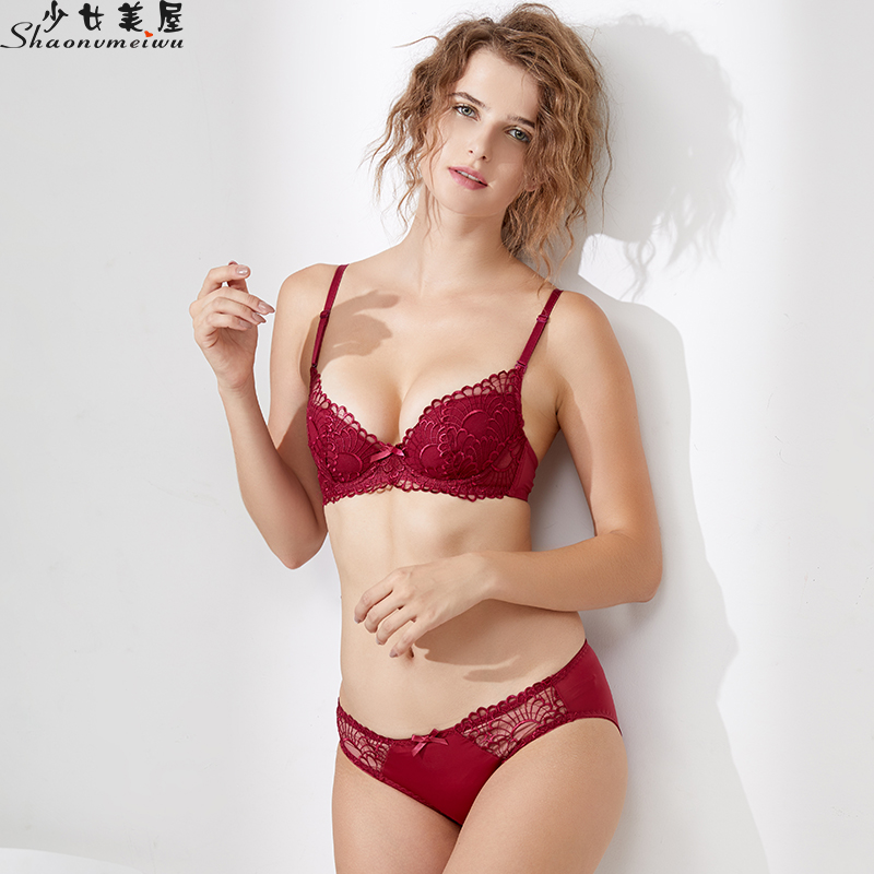 shaonvmeiwu Winter embroidered underwear   bra     set   sexy   bra     set   thin style with large loop chest small thin