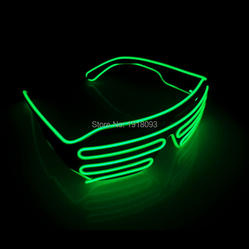 2017 Fashion Green Color EL Wire Flashing Shutter Glasses Rave Costume LED Neon Light Up Party Lighting Supplies