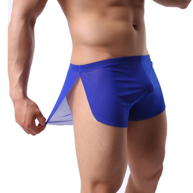 Brand Sides Split Men Pajama Shorts Sexy Low Waist Ultra-thin Mens Sleeping Bottom Man Homewear Casual Sleep Bottom For Male