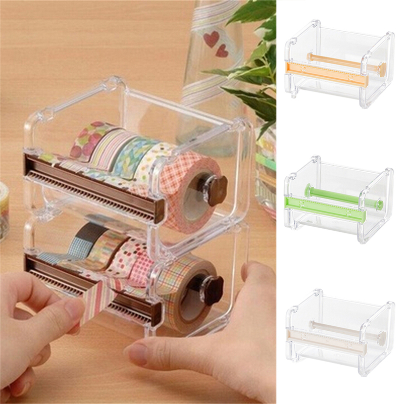 Green Color Stationery Masking Tape Cutter Washi Tape Storage Organizer Cutter Office Tape Dispenser Office Supplies