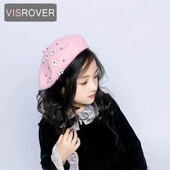 VISROVER 2018 Children Wool Berets Baby Kids  Autumn Winter Hats Boys Girls New Fashion Cap Painter Cap French Cap Star Flowers