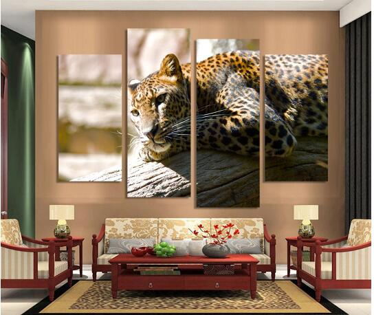Leopard Bedroom Ideas For Painting: 4 Ppcs Leopard Painting Canvas Wall Art Picture Home