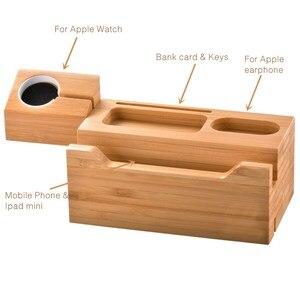 Image 2 - SZYSGSD 2 en 1 Station de recharge en bois pour iPhone 6 6 S 8 support de téléphone portable bureau pour Apple Watch charge support Bluetooth écouteurs