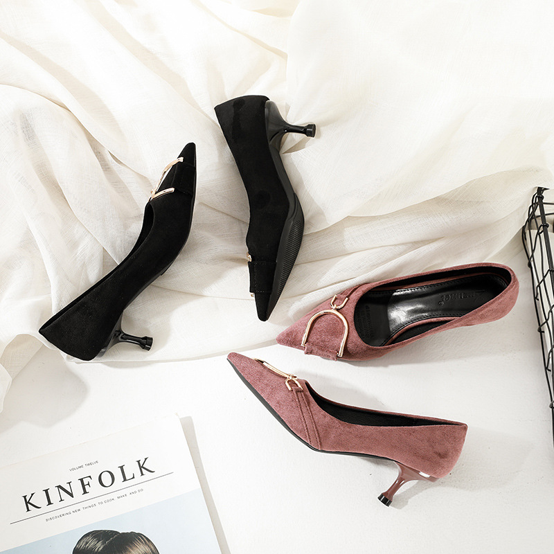 Metal Button Coloured Working Suede High-heeled Shoes Female Fine-heeled Shoes with Shallow Point Head women shoes high heel