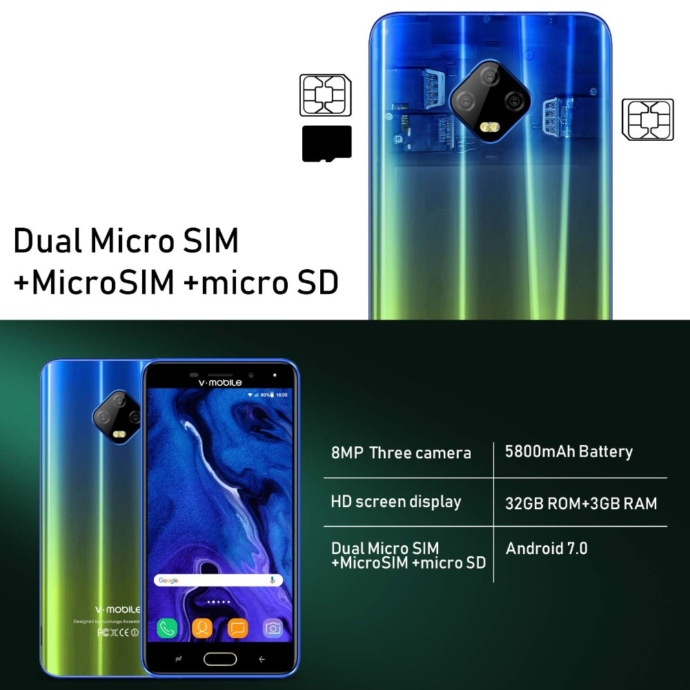"""Image 4 - TEENO Vmobile J7 Mobile Phone Android 7.0 5.5"""" HD Screen 3GB+32GB Dual SIM Card 4G celular Smartphone unlocked Cell Phones-in Cellphones from Cellphones & Telecommunications"""