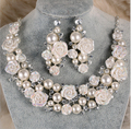 New Fashion Elegant ivory pearl flower bridal jewelry sets Rose necklace earrings wedding jewelry set for bride accessory