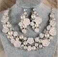 Nova Moda Elegante da pérola do marfim flor conjuntos de jóias de noiva Rosa colar brincos conjunto de jóias de casamento para a noiva acessório