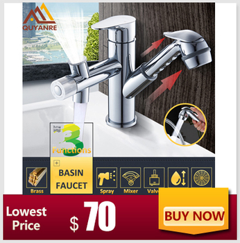 Quyanre Black Chrome Gold Concealed Basin Faucet Wall Mount 360 Rotation Wash Sink Faucet Single Lever Mixer Tap H/C Water Tap
