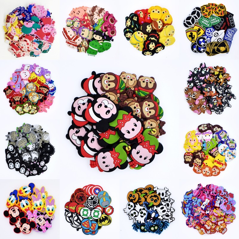 50Pcs Micky Minie Duck Halloween Hero Logo Princess Shoes Charms Fit Croc Shoes/Bracelet Christmas Festival Gift