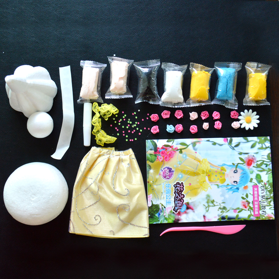 Slime Doll Set Western Style Doll With Dress DIY Colorful Soft Clay Handmade Christmas Presents Education Craft Slime Fluffy