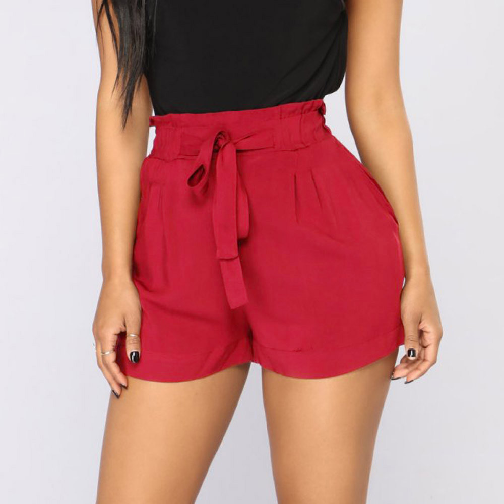 Shorts Bandage String Elastic-Waist-Pocket Retro High-Waist Women Pantalones Casual Fit title=