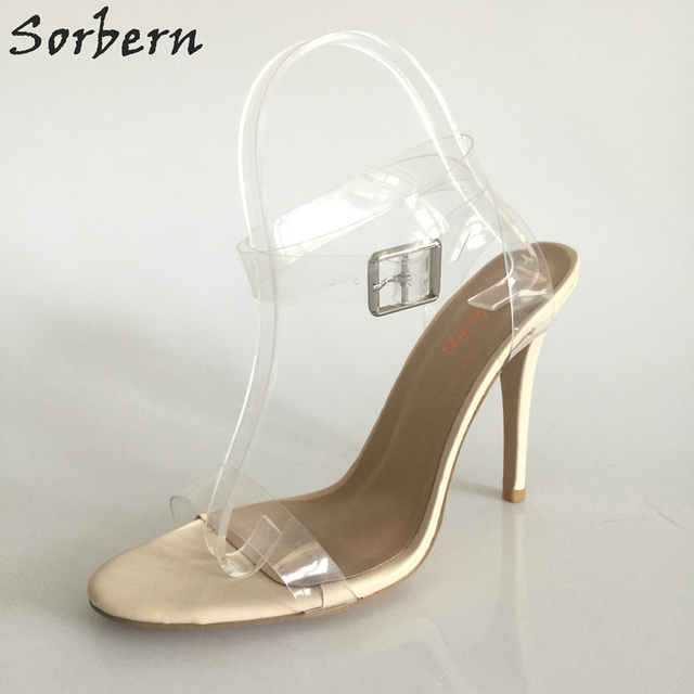 Sexy Kim Kardashian Sandal Style PVC Clear Transparent Strappy Buckle High Heel Sandals Plus Size Custom Stilettos Women Shoes