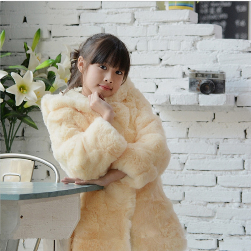 Baby Real Rex Rabbit Fur Coat Autumn Winter Long Section Coat Children Solid Warm fur Coat Girls Clothing Variety Color C#11 недорго, оригинальная цена