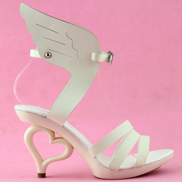 SM36822 Angel Wings Dancing Strappy Heart Bride Wedding Party Sandals