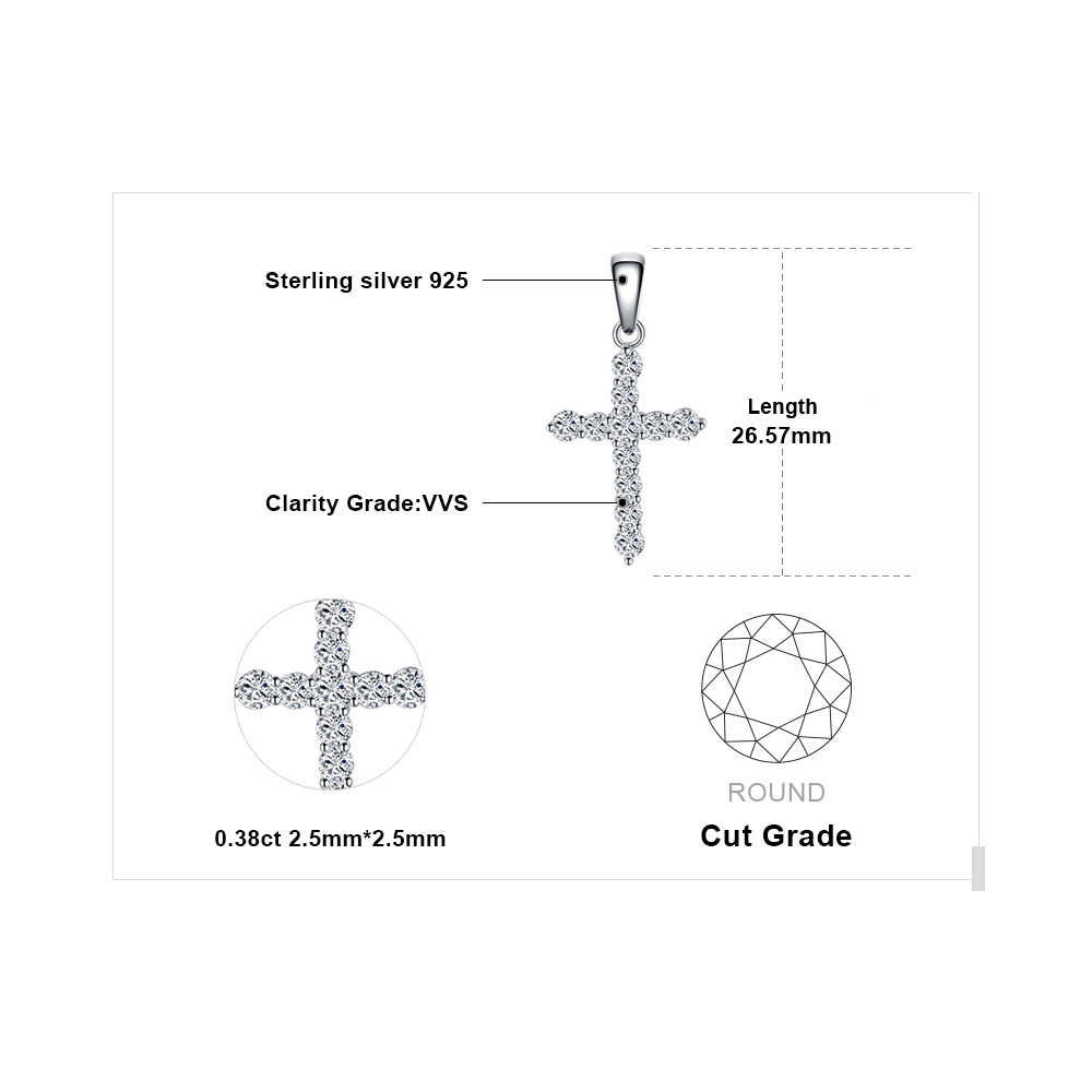 JewelryPalace 0.7ct Cubic Zirconia Cross Pendant Necklace 925 Sterling Silver Fashion Jewelry Pendant Gift Not Include a Chain
