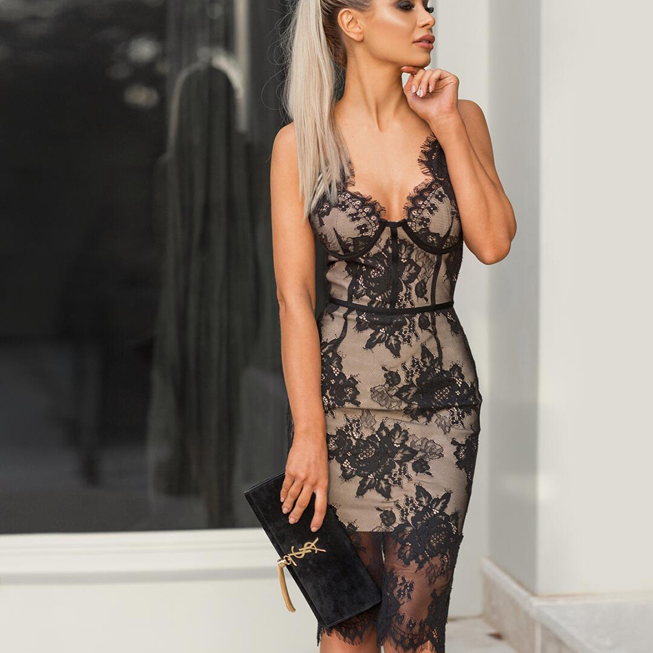 2018 Summer Bandage Dresses Black Bodycon Evening Party Sexy Club Celebrity Fashion Sleeveless Hollow Out Women