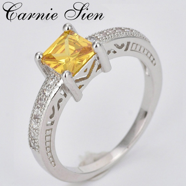Carnie Exquisite Simple Female Wedding Rings Bague Homme Zirconia Square Shape Ring Jewelry For Trade Fairs