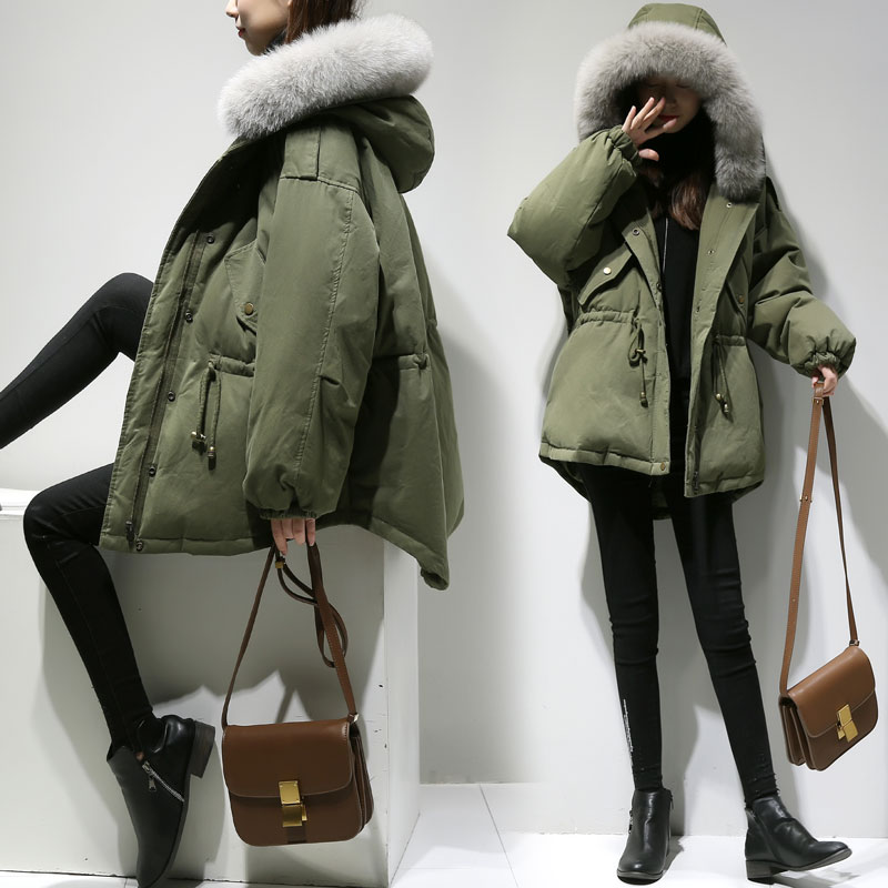 New 2017 Winter Jacket Women Coats Real Large Raccoon Fur Collar Female Parka Army Green Thick Cotton Padded Lining Ladies 1021 furlove new real large raccoon fur winter coat women jacket coats collar thicken warm padded cotton lady parkas female jacket