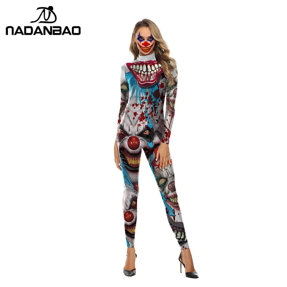 NADANBAO 2019 Joker Halloween Costumes For Women Clothing Cosplay Bodysuit Movie Costume Clown Catsuits