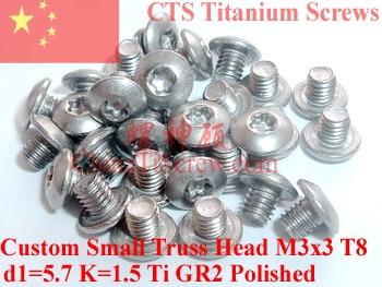 Titanium screw M3x3 Torx T8 Driver Custom Small Truss Head Ti GR2 Polished 50 pcs global truss f34050p b truss 0 50 m