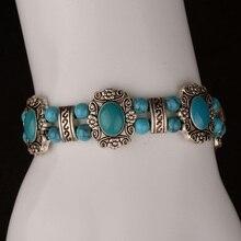 17+4cm Tribal Ethnic Flower Bracelets for Women Red/Blue/Black Color Adjustable Vintage Handmade Bohemian Jewelry