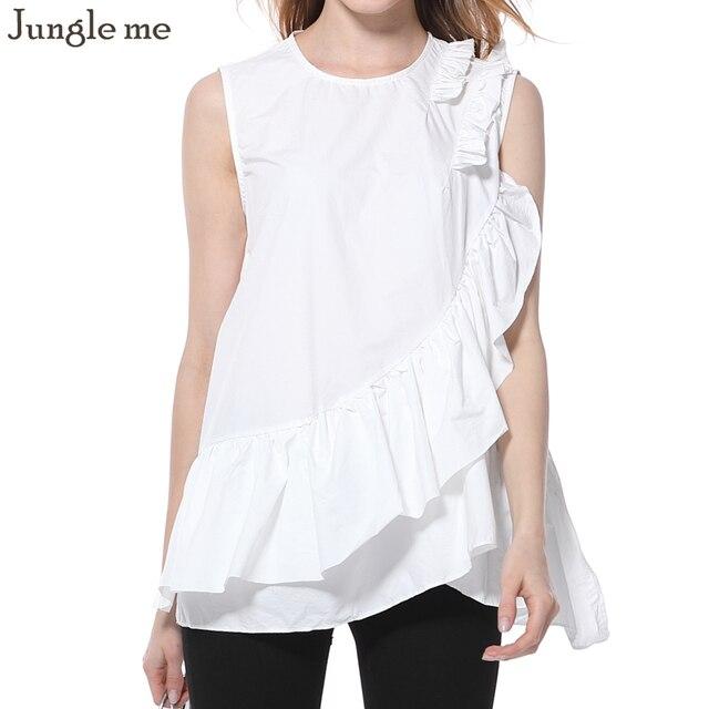 6c4bae0469489 Jungle me Summer Women Solid Frill Blouse Peplum Sleeveless Top Office Shirt  White Fashion Shirt