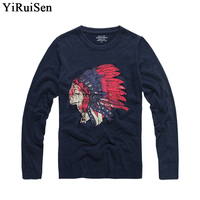 YiRuiSen Brand Long Sleeve T Shirt Men 100 Cotton Winter And Autumn Clothing 6533
