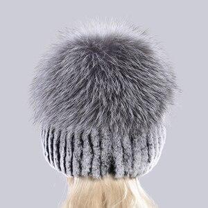 Image 4 - Bonnet en fourrure de renard en argent naturel, chapeaux pour femmes, bonnet en vraie fourrure de Rex, tricoté, à la mode, nouveauté