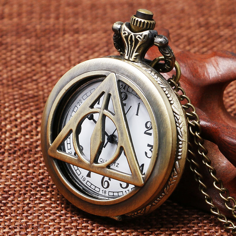 2017 Vintage Hot Design The Deathly Hallows Design Pocket Watch Bronze Copper Necklace With Chain Men Women Kids Birthday Gift