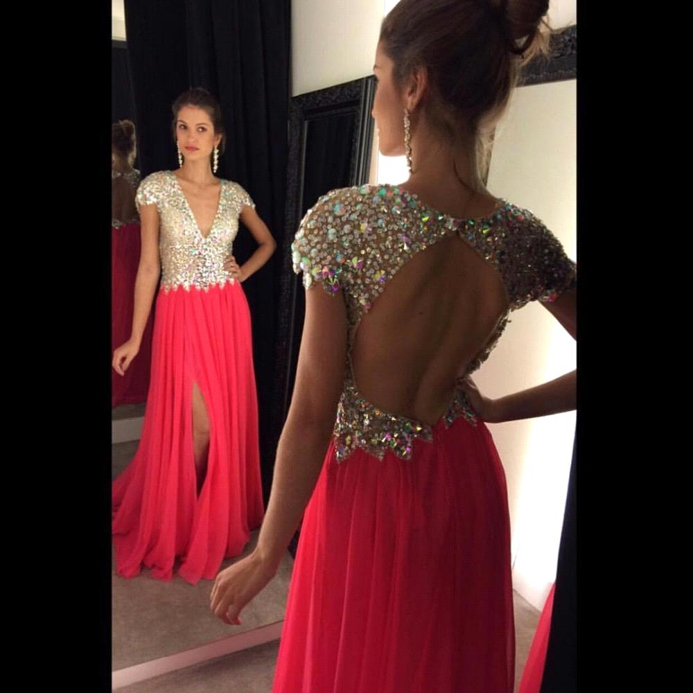 77aac4ada40 Sparkly V Neck Long Formal A line Long Women Vestidos Gown Prom Dresses 2016  Beaded Top Chiffon Evening Dresses Party Gown