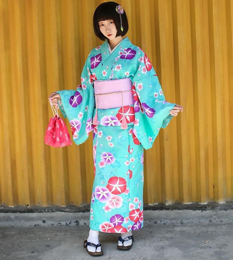 2019 Kimono japonais traditionnel en coton Cosplay kawaii japon yukata kimono femmes fleurs kimono robe avec obi et chaussures 012702