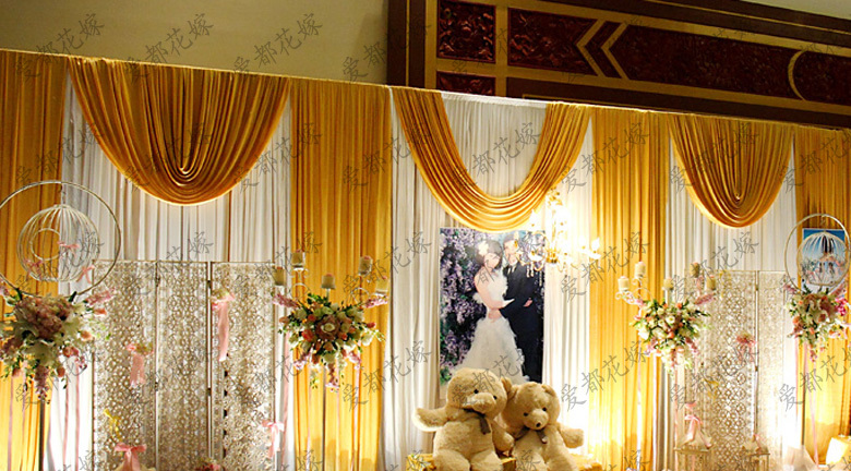 White wedding stage backdrops decoration romantic wedding curtain with gold swags