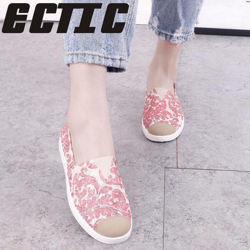 ECTIC Woman Casual Summer Flat Batai moterys mielos mėlynos - Moteriški batai