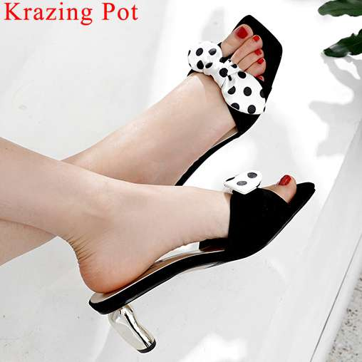 Krazing Pot elegant lady natural leather butterfly-knot decoration high heels peep toe big size sweety girl slip on mules L5f1Krazing Pot elegant lady natural leather butterfly-knot decoration high heels peep toe big size sweety girl slip on mules L5f1