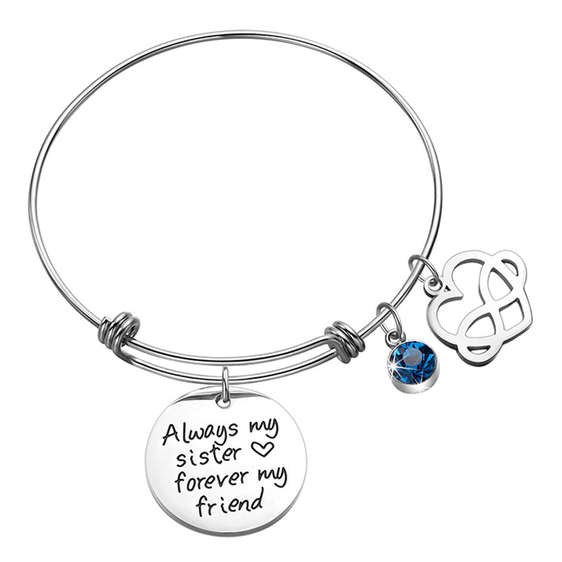 Sister Bangle Bracelet Jewelry Heart Infinity Charm Birthday Gift For FriendAlways My Forever Friend