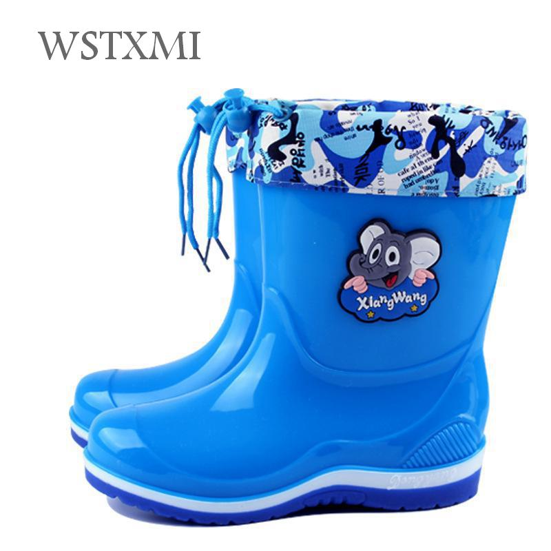 Kids Rain Boots for Girls Boys Rain Boots Waterproof Baby Non-slip Water Shoes Cartoon Children Rainboots four Seasons Removable