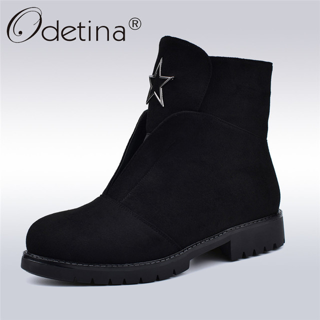 3de57e42d Odetina High Quality Flock Leather Women Boots Soft Low Heels Side Zip Fashion  Female Ankle Boots Autumn Winter Warm Plush Shoes