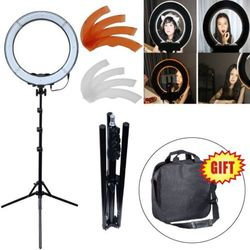 Studio 19 / 48cm 55W Dimmable LED Ring Light + 185cm Tripod Light Stand + Color Filter for Video Photo Makeup Lighting Selfie