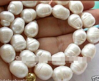 Envío gratis>> @ 1801 Hermosa 16mm arroz blanco de agua dulce collar de perlas