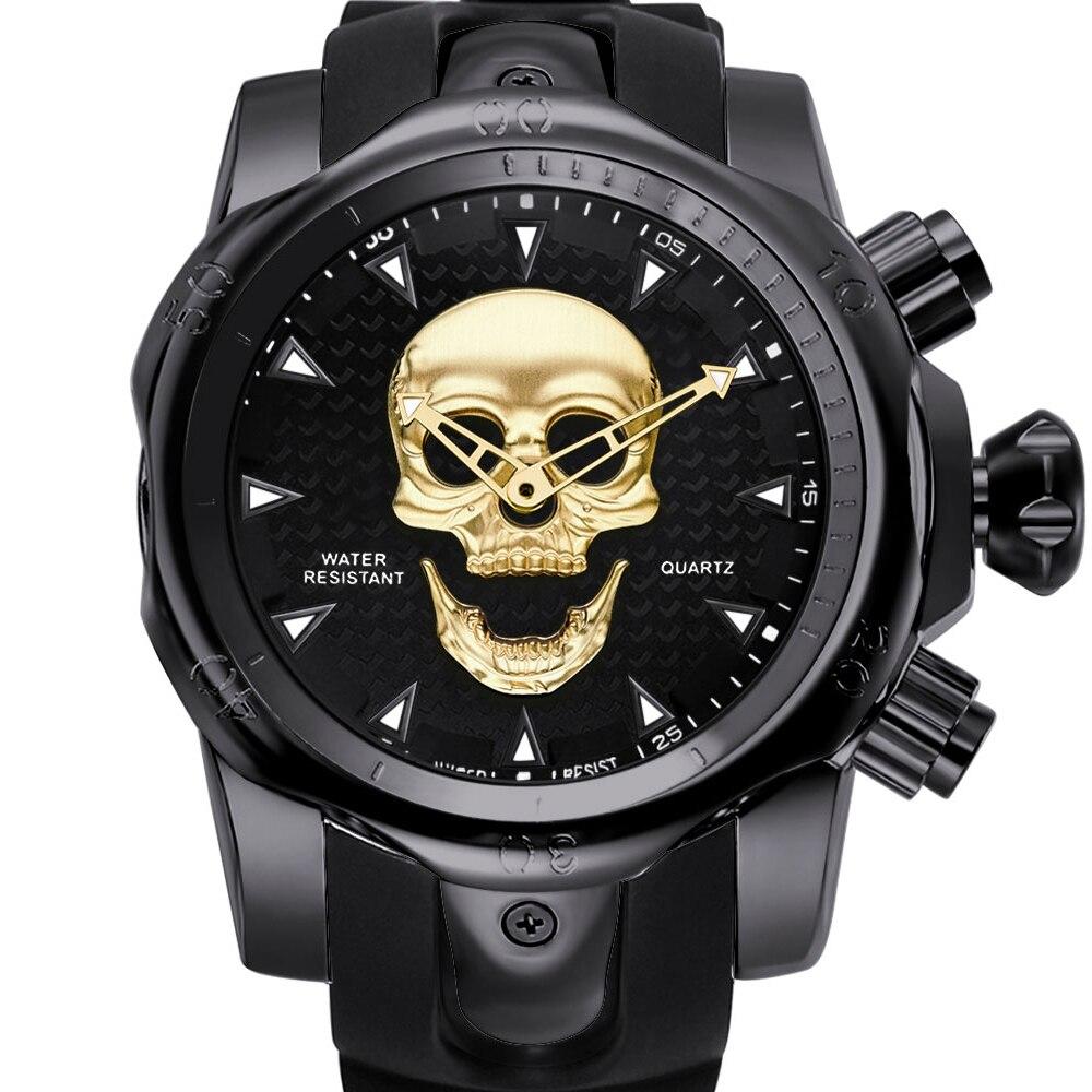 2019 topo da marca de luxo relógio masculino novo crânio 3d fantasma relógio de pulso grande dial rotativo banda silicone esportes relógio de pulso para o sexo masculino