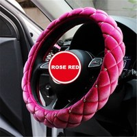 Winter Short Plush Car Steering Wheel Cover Crystal Rhinestone Auto Heated Fur Steering Wheel Covers Cases