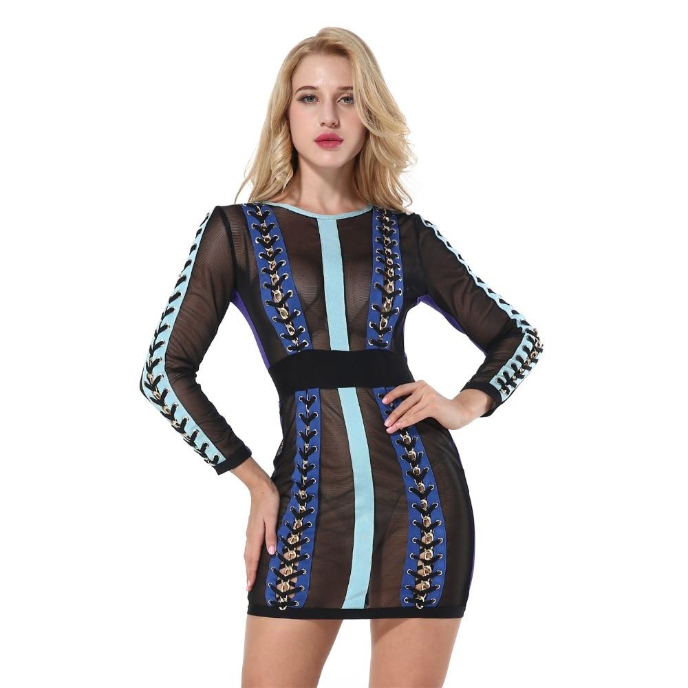 Sexy Bandage Dress 2018 New Summer Long Sleeve O Neck Mesh Patchwork Above Knee Women Dress Evening Party Celebrity Nightclub