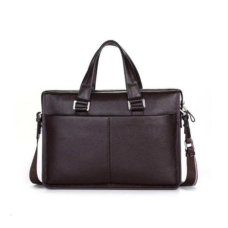2017 Classic Brand Name Men Shoulder bag Messenger Bag GENUINE LEATHER Business Bags Black Briefcase for 10-14 Laptop Notbook