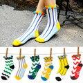 2015 nueva primavera Japonesa lindo retro a rayas de color caramelo de las mujeres calientes calcetines meias femininas Navidad calcetines femeninos FreeShipping