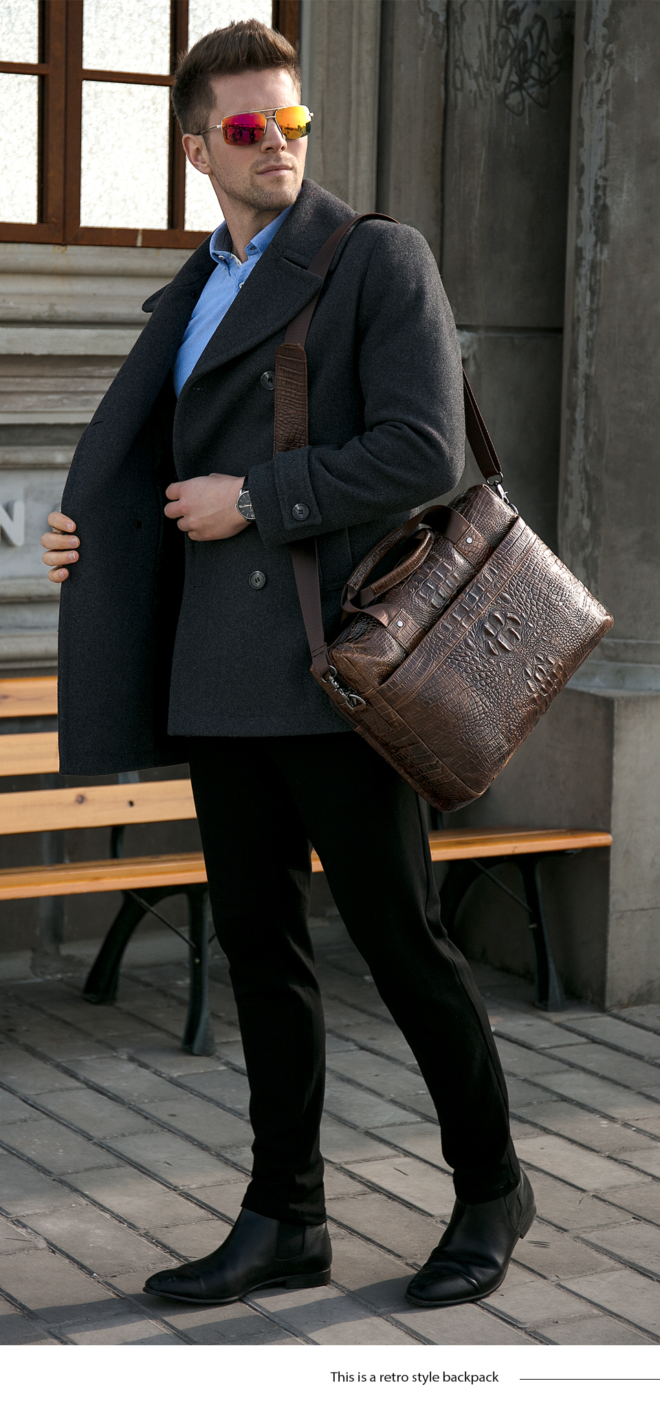 Bag for men's briefcase genuine leather office bag