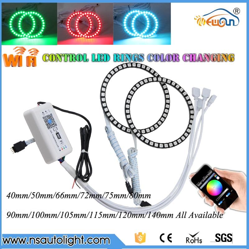 One Pair WIFI Control Color Change LED Halo Ring  40/50/60/66/72/75/80/90/100/105/115/120/125/140mm Led Angel Eyes Full Circle датчик тс 125 50 м в2 60