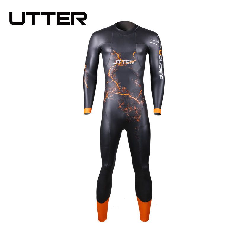 UTTER Volcano Men SCS Triathlon Suit 5MM Yamamoto Neoprene Swimsuit Long Sleeve Surfing Wetsuit Swimming Suits
